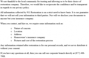 911 Restoration Privacy Policy Jacksonville Forever