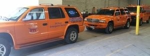 Water Damage and Mold Removal Restoration Fleet At Warehouse